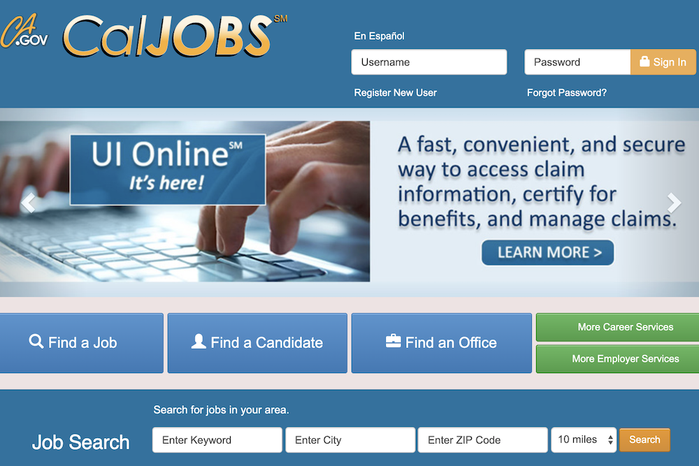 CalJobs website screenshot