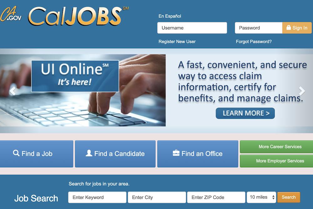 CalJobs website screenshot