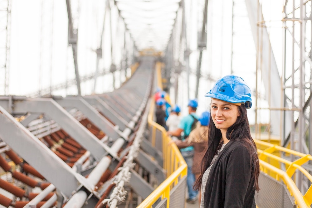 Engineer on bridge under construction