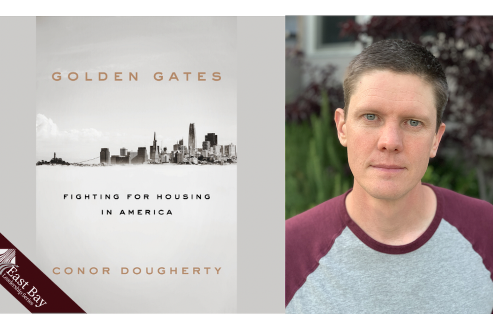 A profile photo of Conor Dougherty placed beside the front cover of his book Golden Gates